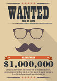 Most wanted man with mustache and glasses poster Royalty Free Stock Images