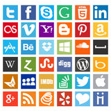 Most wanted social media icon pack. Facebook,twitter,skype,digg, like icons in flat design Royalty Free Stock Photo
