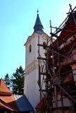 Most warowny średniowieczny kościół w Dirjiu, Transylvania obraz stock