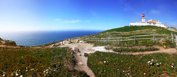 The most western point of Europe, Cabo da Roca, Portugal. Panoramic view of the most western point of Europe, Cabo da Roca, Portugal royalty free stock photography