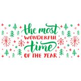 The Most Wonderful Time Of The Year lettering on festive background. Vector hand drawn Christmas illustration. Happy Holidays greeting card, poster template Stock Photo