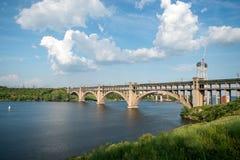 Most wyspa Khortytsya, Zaporozhye obraz stock