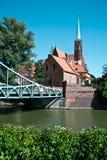 most wyspa Tumski, Wroclaw, Polska Zdjęcie Stock