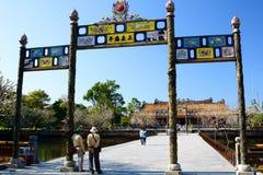 Most Złota woda miasto imperium Hué Wietnam Zdjęcie Royalty Free