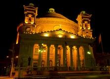 Mosta圆顶在晚上-马耳他 库存图片