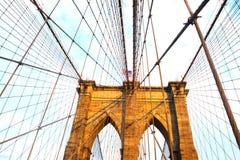 Mosta Brooklyńskiego Nowy Jork miasto z Brooklyn panoramą Zdjęcia Stock