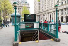 Mosta Brooklyńskiego urzędu miasta staci metro Fotografia Stock