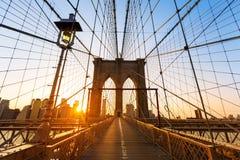 Mosta Brooklyńskiego zmierzch Nowy Jork Manhattan Zdjęcia Royalty Free