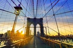 Mosta Brooklyńskiego zmierzch Nowy Jork Manhattan Zdjęcie Stock