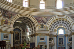 Churches of Malta - Mosta Rotunda. Interior of the monumental parish church of St Mary dedicated to the Assumption of Our Lady, known as the Mosta Dome or Royalty Free Stock Image