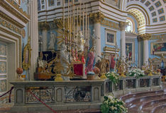 Churches of Malta - Mosta Rotunda. Interior of the monumental parish church of St Mary dedicated to the Assumption of Our Lady, known as the Mosta Dome or Stock Image
