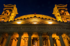 Mosta Dome by night - facade low angle, Malta. MALTA - 11 JAN 2016: Mosta Dome by night - facade low angle, Malta, Rotunda of Mosta, The Church of the Assumption Royalty Free Stock Photo