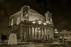 Mosta Dome by night HDR sepia, Malta. MALTA - 11 JAN 2016: Mosta Dome by night HDR sepia, Malta, Rotunda of Mosta, The Church of the Assumption of Our Lady Stock Images