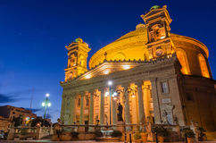 Mosta dome at night - Malta Royalty Free Stock Photos