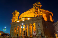 Mosta Dome by night, Malta. MALTA - 11 JAN 2016: Mosta Dome by night, Malta, Rotunda of Mosta, The Church of the Assumption of Our Lady Royalty Free Stock Photo