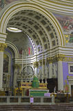Churches of Malta - Mosta Rotunda. Interior of the monumental parish church of St Mary dedicated to the Assumption of Our Lady, known as the Mosta Dome or Stock Photos