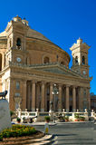 Churches of Malta - Mosta Rotunda. Six-columned portico of the monumental parish church of St Mary dedicated to the Assumption of Our Lady, known as the Mosta Royalty Free Stock Images