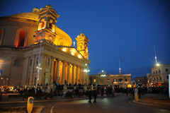 Mosta Dome and town square at night. Mosta, Malta. Royalty Free Stock Photos