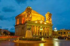 Mosta kupol på natten - Malta Royaltyfri Foto