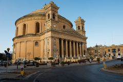 Mosta rotunda church. Malta. MOSTA, MALTA - AUGUST 21, 2017: The dome of the Rotunda of Mosta Church of the Assumption of Our Lady is the third largest Royalty Free Stock Photos