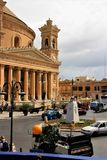 Mosta, Malta, August 2015. Main square and famous catholic cathedral. stock photo