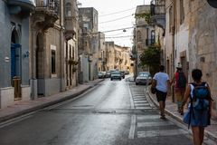 Narrow streets and colorful balconies. Malta. MOSTA, MALTA - AUGUST 21, 2017: The narrow streets with their colorful balconies of Mosta are one of the major Royalty Free Stock Image