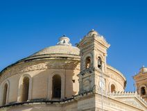 MOSTA, MALTA ,15 DECEMBER 2018 - Mosta Dome Cathedral St. Mary church The Parish Church of Assumption. Under the blue sky , rotunda square royalty free stock photo
