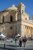 MOSTA, MALTA ,15 DECEMBER 2018 - Mosta Dome Cathedral St. Mary church The Parish Church of Assumption. Under the blue sky , rotunda square stock images