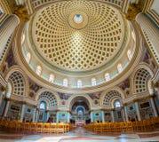 Mosta, Malta - Panoramic interior shot of Mosta Dome Royalty Free Stock Photos