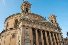 Mosta rotunda church. Malta. MOSTA, MALTA - AUGUST 21, 2017: The dome of the Rotunda of Mosta Church of the Assumption of Our Lady is the third largest Stock Photography
