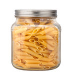 Mostaccioli Pasta in a Glass Jar Stock Image