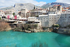 Mostar. Famous turistic place Mostar on a sunny winter day Stock Photo
