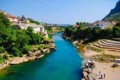 Mostar, Bósnia, paisagem no verão Fotos de Stock Royalty Free