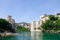 Mostar, Bosnia and Herzegovina. Stari Most in Mostar, Bosnia and Herzegovina, The World Heritage Site Old Bridge Area of the Old City of Mostar Royalty Free Stock Photos