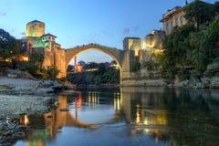 Mostar, Bosnia Herzegovina. Historic bridge over the Neretva river in Mostar, Bosnia Herzegovina at twilight stock photos