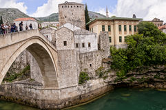 Mostar in Bosnia and Herzegovina is the most important city in the Herzegovina region. Royalty Free Stock Photo