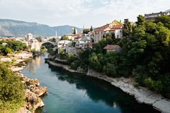 Mostar, Bosnia and Herzegovina. The Old Bridge on river Neretva, Mostar, Bosnia and Herzegovina royalty free stock photography