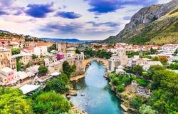 Mostar, Stari Most bridge in Bosnia and Herzegovina. Mostar, Bosnia and Herzegovina. The Old Bridge, Stari Most, with emerald river Neretva royalty free stock image