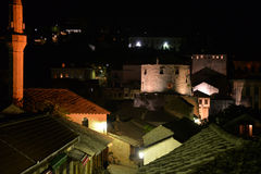 Mostar, Bosnia Herzegovina. The old town by night Royalty Free Stock Photo