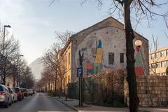 MOSTAR, BOSNIA - JAN 26, 2018: Street with mural painting in the Old Town, Mostar in Bosnia-herzegovina. The name Mostar Stock Image