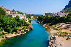 Mostar, Bosnia, Landscape in the summer. River in Mostar, Bosnia, Europe Royalty Free Stock Photos