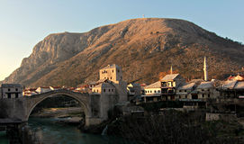 Mostar, Bosnia in the morning. Morning view of Mostar, Bosnia in January Stock Photo