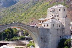 Mostar Bridge. Famous jumping Mostar bridge over Neretva river Stock Photo