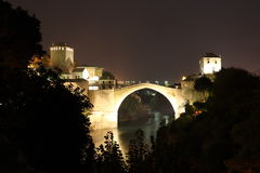 Mostar Bridge. Famous Mostar Bridge Stari Most in Bosnia (World Heritage List) at night Stock Photography