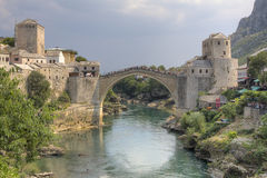 Mostar Bridge. The famous Mostar bridge in Bosnia was used to separate the Muslims from the Christians after the Yugoslavia war. For years, both parties fought Royalty Free Stock Photography