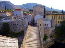 Mostar bridge. Old bridge on river Neretva - Mostar, Bosnia and Herzegovina, UNESCO Royalty Free Stock Images
