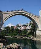 Mostar bridge, Bosna. This ancient bridge was destroyed during the Yugoslavia war. After that war, this bridge was rebuilt Royalty Free Stock Photo
