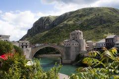 Mostar bridge, Bosnia and Hercegovina. Side view on the famous bridge of Mostar in Bosnia and Hercegovina Royalty Free Stock Photos