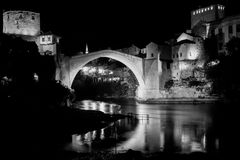 Mostar Bridge - Bosnia Herzegovina - Black and White Royalty Free Stock Photo