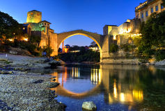 Mostar bridge, Bosnia & Herzegovina. Mostar famous bridge seen at the blue hour, Bosnia & Herzegovina Stock Photography